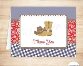 Cowboy Thank You Card Template - Cowboy Folded Thank You Card - Cowboy Birthday Party - Red and Navy Blue - PRINTABLE, INSTANT DOWNlOAD