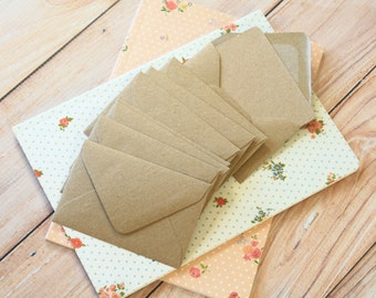 Plain Kraft Brown Mini Envelopes & Plain Kraft Note Cards 10pc set