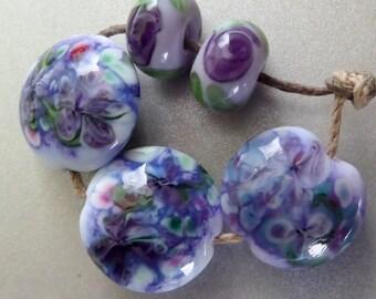 Destash Lampwork bead  Floral Focals