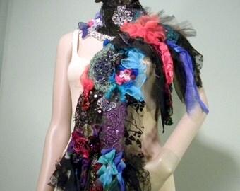 DRAMATIC BOHEMIAN SHAWL - Wearable Fiber/Textile Art, Richly Boho Tattered & Embellished, Unsurpassed Quality Marerials