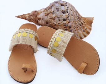 Sandals, Leather Sandals, Boho Sandals, Shoes, Fringe Sandals, Greek Sandals, Coin Sandals, Cotton Lace, Lace Sandals, Handmade, Accessories