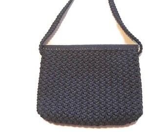 Vintage 1960's Handbag, Macrame Purse, NAvy Blue Nautical