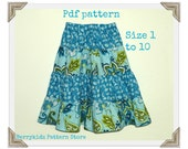 Twirl skirt pattern, Size 1-10, Easy sew pattern, pdf pattern, Girls skirt pattern - 4 Tier twirl skirt pattern (S112)