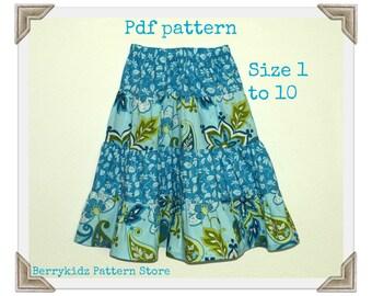 Twirl skirt pattern, Easy sew pattern, pdf pattern, Girls skirt pattern, Beginner sewing pattern - 4 Tier twirl skirt pattern (S112)