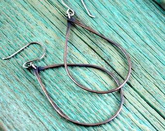 Large Copper Teardrop Hoop Earrings, Boho Rustic Copper, Sterling Silver, Southwestern