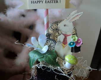 easter bunny rabbit with top hat