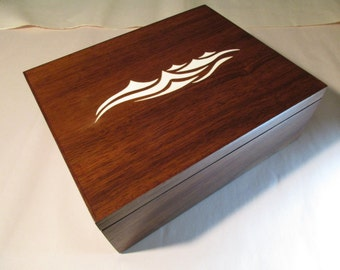 Wood Jewelry Box Wave Inlay Walnut
