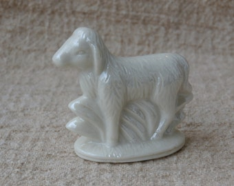 Miniature Lamb or Sheep Figurine, Pearly White for Nativity Set, Creche, or Crafting 2 inches tall, standing