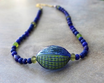 Rare Blue Green Millefiori Blown Glass Pendant Necklace Lime and Ocean Blue Vintage Glass Beads Ocean Jewelry