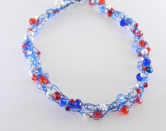 Red White and Blue Wire Crochet Necklace, Patriotic Necklace, Team USA, Summer Olympics