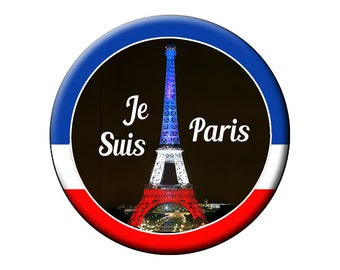 "Choose An Eiffel Tower Pin or Magnet in Red White and Blue- We Are All Paris Large 2.25"" Pin Back Button or Magnet"