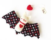 Valentine decor, felt animal ornament : needle felted white bat plush with a red felted heart