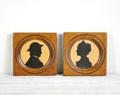 Vintage Framed Silhouette Portraits, Cameo Silhouette
