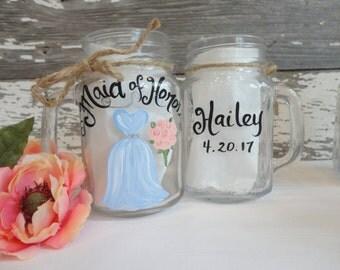 Hand Painted Bridesmaid Mason Jars, Bridesmaid Gifts, Rustic Mason Jars, Bridal Party Mason Jars, Painted Wine Glasses, PICK Your COLORS