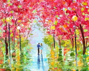 Spring Romance painting original oil abstract palette knife impressionism on canvas fine art by Karen Tarlton