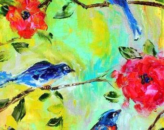 Original oil painting Spring Birds and Flowers palette knife modern texture fine art impressionism by Karen Tarlton