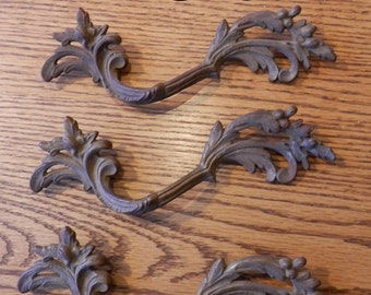 vintage 3 inch centers French style drawer pulls left  antique solid brass