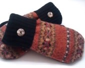 Rich colors, orange, black, Etsy mittens, recycled sweaters, women's mittens, fall colors,fleece lined mittens, felted wool mittens