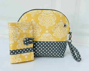 Crochet Case Project Bag and Crochet Hook Case Combo Pouch Zipper Yellow Damask and Gray Dots OR Choose Any Fabric in My Shop