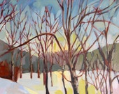 Montana Aspens in Winter original landscape oil painting by Angela Moulton 20 x 16 inches on canvas prattcreekart