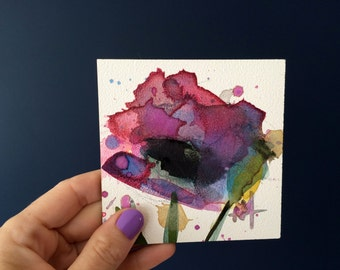 Purple Poppy no. 3 Original Watercolor Painting by Angela Moulton 4 x 4 inch on Panel