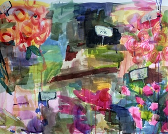 Flower Stall in Munich Original Abstract Floral Watercolor Painting 22 x 30 inch Angela Moulton