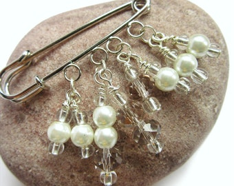 Crystal and Pearl  Brooch - White Beaded Pin - Sweater Pin - Beaded Brooch