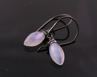Moonstone Earrings, Rainbow Moonstone Earrings, Rainbow Moonstone Jewelry, June Birthstone, Solitaire Earrings, Single Stone Earrings