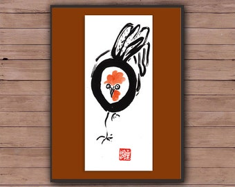 Rooster, Chinese New Year, Year of the Rooster, Original Zen Sumi ink Brush Painting, zen decor, child's nursery art, japan style, chicken