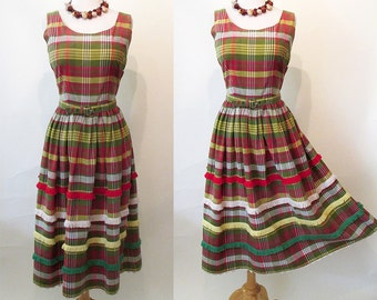 CLEARANCE Too Cute for Words 1950's Plaid Sundress with Fringe Detail and  Belt Rockabilly Vlv Pinup Girl Day Dress Summer Dress Size-Medium
