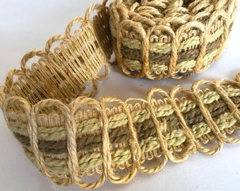 Vintage Woven Burlap Trim Sewing Craft Supply