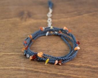 Fire Opal Wrap Bracelet / Necklace - Silk Micro Macrame Convertible Wrap Bracelet and Necklace