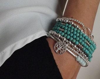 Turquoise bracelet, silver bracelet, Layering bracelet, turquoise jewelry, Bridesmaids bracelet, Sterling silver bracelet, turquoise