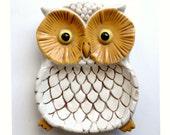 Retro Owl Dish, Ceramic Owl Dish, Vintage Owl Trinket Dish, Owl Ring Keeper, Owl Dresser Caddy, McNees Owl Glazed Mold, Orange Gold White