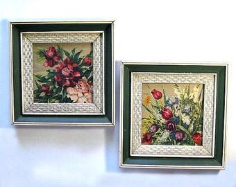 Framed Floral Prints, Two Framed Floral Vintage Art Prints, Lattice Frame Flower Prints, Green Pink Floral Art, Vintage Art
