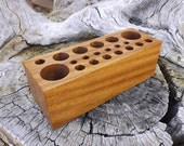 Solid Wood Make Up Brush Holder - Premium Quality - Handmade - African Sapele Wood - Cosmetics Caddie Pencil Holder Etc.