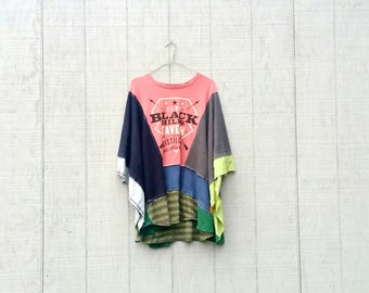 Black Hills Tavern Whiskey funky poncho upcycled recycled patchwork ladies clothing sweatshirt spring jacket by CreoleSha
