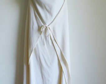 ANGELO TARLAZZI early 80s ivory silk crepe long dress with tie fastening
