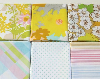 Vintage Bed Sheet Fabric reclaimed bed sheet Fat Quarter Set of 6 reclaimed bed linen fabric fat quarter bundle retro floral quilting fabric