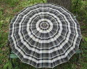 Vintage Umbrella Plaid Black White Gray Lucite Handle Wood Shaft Parasol Usable Forties Accessory 1940s Rain Gear Sun Shade Umbrella
