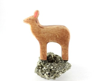 deer waldorf toy, wooden deer toy, wood deer figurine, waldorf animal toys,wooden toy animal
