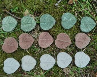 """Cement Leaf Lot 15pc Fairy 1 1/2"""" Step Concrete Garden Accent Craft   3 Colors"""