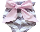 High Waist Bloomer | Gray Stripes with Pink Bow | Sizes Newborn to 24 Months | Baby Girl, Newborn Photo Prop, Diaper Cover