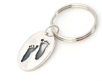 Handprint Keychain, Footprint Keychain, Personalized Keychain, Handprint Key Ring, Custom Keychain, Baby Handprint Keychains