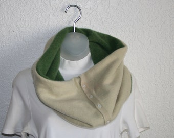 Cashmere cowl - felted and upcycled - green