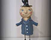 Man in the Moon  - Halloween  -paper mache - handmade art doll- folk art