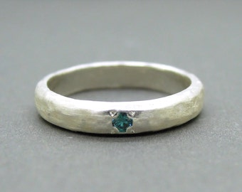 Blue diamond ring in brushed sterling silver