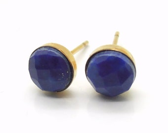 Lapis lazuli earrings in gold filled, small stud earrings, natural gemstone studs