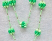 Vintage Flower Power Necklace ~ 1960's Variegated Green Plastic Bead Flowers ~ 60 Inch Length ~ New Condition