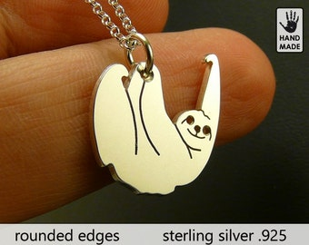 Tiny SLOTH Three Toed Handmade Sterling Silver .925 Necklace in a gift box